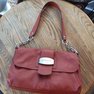 Liz Claiborne Reddish Brown Leather Shoulder Bag